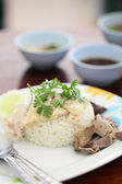 Thai food gourmet steamed chicken with rice , khao mun kai in wo — Stock Photo