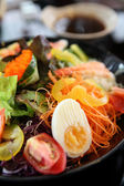 Seafood salad with Japanese sauce — Stock Photo