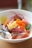 Bowl of Japanese mix sashimi don on rice — Stock Photo