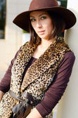 Pretty woman in a hat — Stock Photo