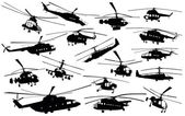 Helicopter silhouettes — Stock Vector