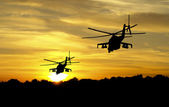 Helicopter silhouettes — Stock Photo