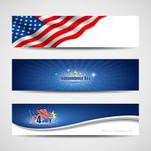 Banners samling självständighetsdagen bakgrund — Stockvektor