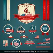 Jeu de rubans et étiquettes vintage, fête de l'indépendance — Vecteur