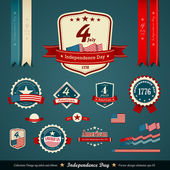 Vintage label and ribbons set, independence day — Vector de stock