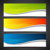 Collection banners modern wave design background — Stok Vektör
