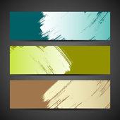 Collections peinture brosse bannière fond coloré — Vecteur