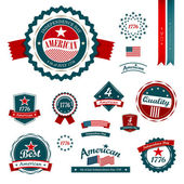 Vintage label and tag set, independence day. — Stock Vector