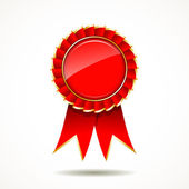Red and gold the winner ribbon award — Stock Vector