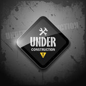 Under construction sign on grunge background — Stock Vector