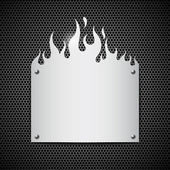 Blank plate stainless steel fire flames background — Stock Vector