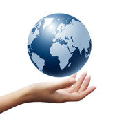 Blue Globe in woman hands — Stock Photo