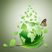Green world and green leaves, butterfly — Stock Photo