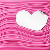 White paper hearts on pink abstract background — Stock Vector