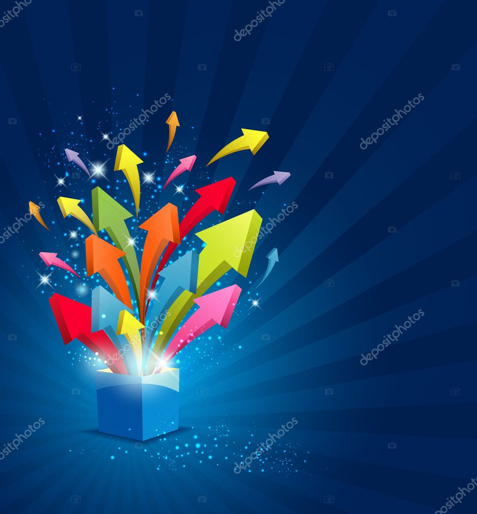 Arrow Magic Box With Sparkling Light Background