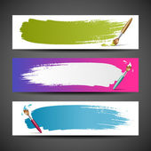 Colorful Paint brush banners background set — Vector de stock