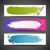 Banderas de cepillo de pintura colorida del fondo conjunto — Vector de stock