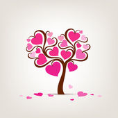 Valentine's Day Tree pink heart — ストックベクタ