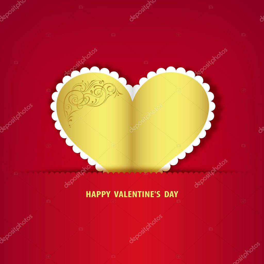 Gold heart paper classic valentine day, vector illustration — Stock Vector #11958009