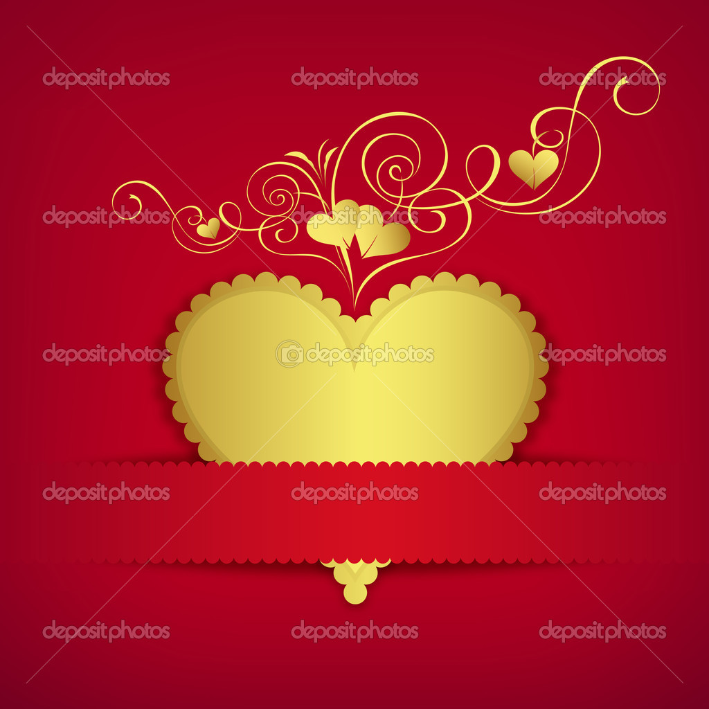 Gold heart classic valentine day greeting card, vector illustration — Stock Vector #11958229