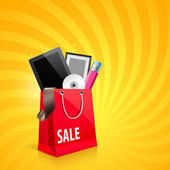 Compras bolso rojo, vector illustration — Vector de stock