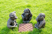 Doll monkey playing chess. — Stock Photo