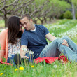 Royalty-Free Stock Photo: Affectionate Couple Together on Picnic Blanket