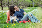 Affectionate Couple Together on Picnic Blanket — Stock Photo