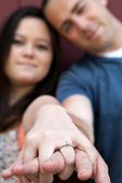 Engaged Couple Shows Diamond Ring — Stock Photo