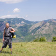 Tourist on the background of the Crimean Mountains — Stock Photo