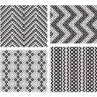 Stock Vector: Set of 4 monochrome elegant seamless patterns