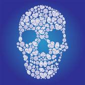 Diamond skull on blue background — Stock Vector