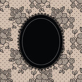 Black elegant doily on lace background — Stock Vector