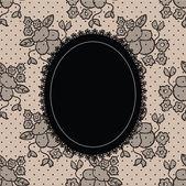 Black elegant doily on lace background — Stock Vector
