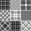 Black and white plaid patterns — Stock Vector