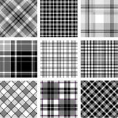 B&W plaid patterns set — Stock Vector