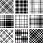 B&W plaid patterns set — Stock Vector