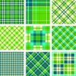 Green tartan vector set — Stockvektor
