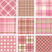 Pink plaid patterns set — Stock Vector