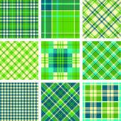 Green tartan vector set — Stock Vector
