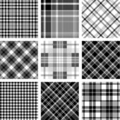 Black & white plaid set — Stock Vector
