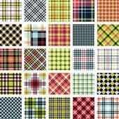 大きな格子縞のパターン セット — ストックベクタ