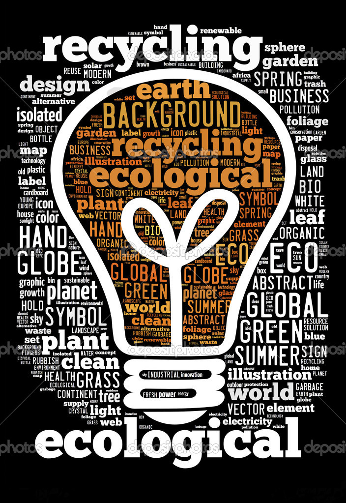 Ecological concept of bulb, word Cloud — Stock Photo #11893797