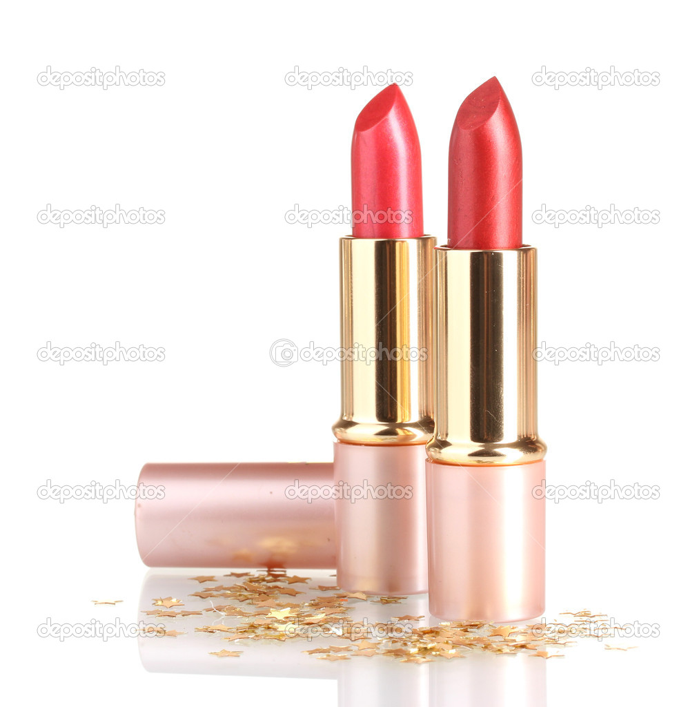 Beautiful red lipsticks isolated on white  Stok fotoraf #10769568