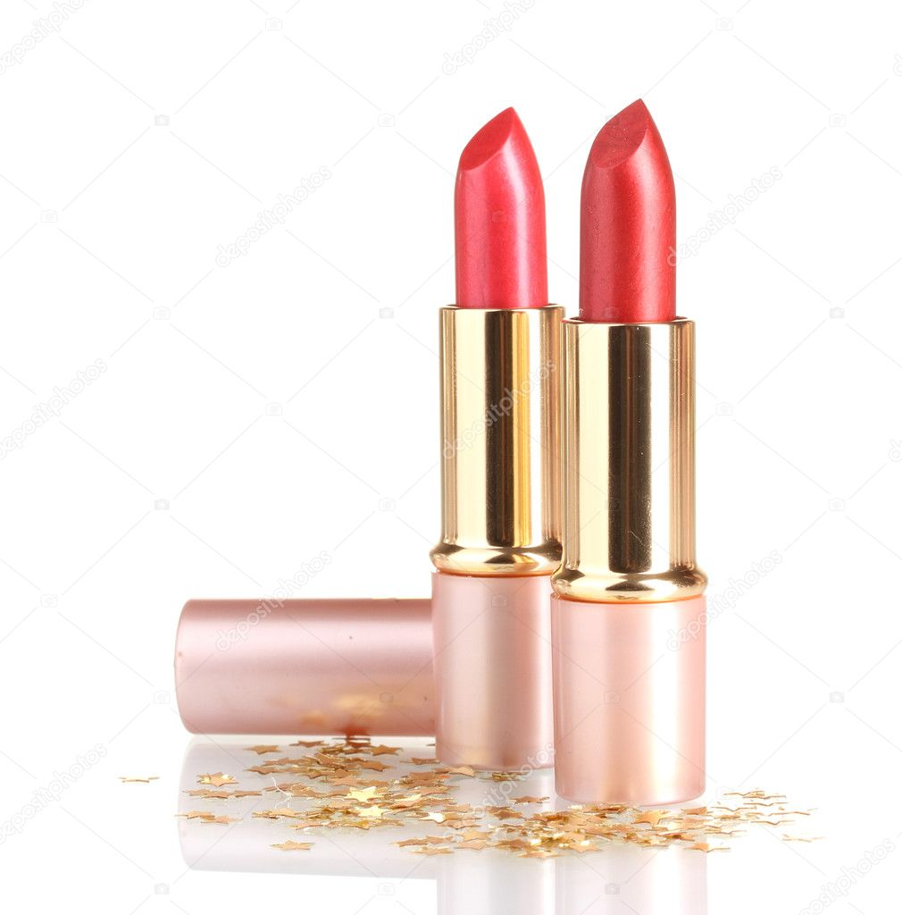 Beautiful red lipsticks isolated on white — Stockfoto #10769568