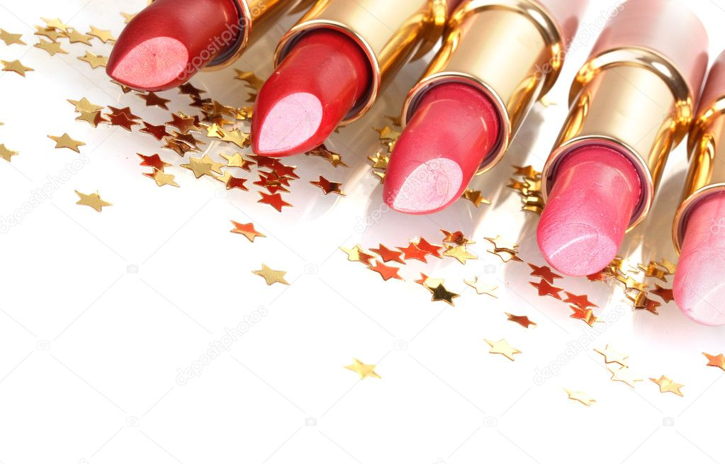 Beautiful lipsticks isolated on white — Stok fotoğraf #10769583