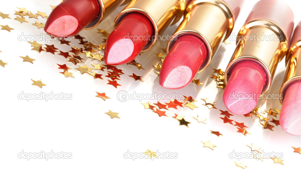 Beautiful lipsticks isolated on white — Photo #10769583