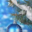 Christmas ball on the tree on blue — Stock Photo #10802262