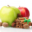 Cinnamon sticks, apples, nutmeg and anise isolated on white — Stock Photo