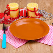 Table setting on wooden background — Stock Photo